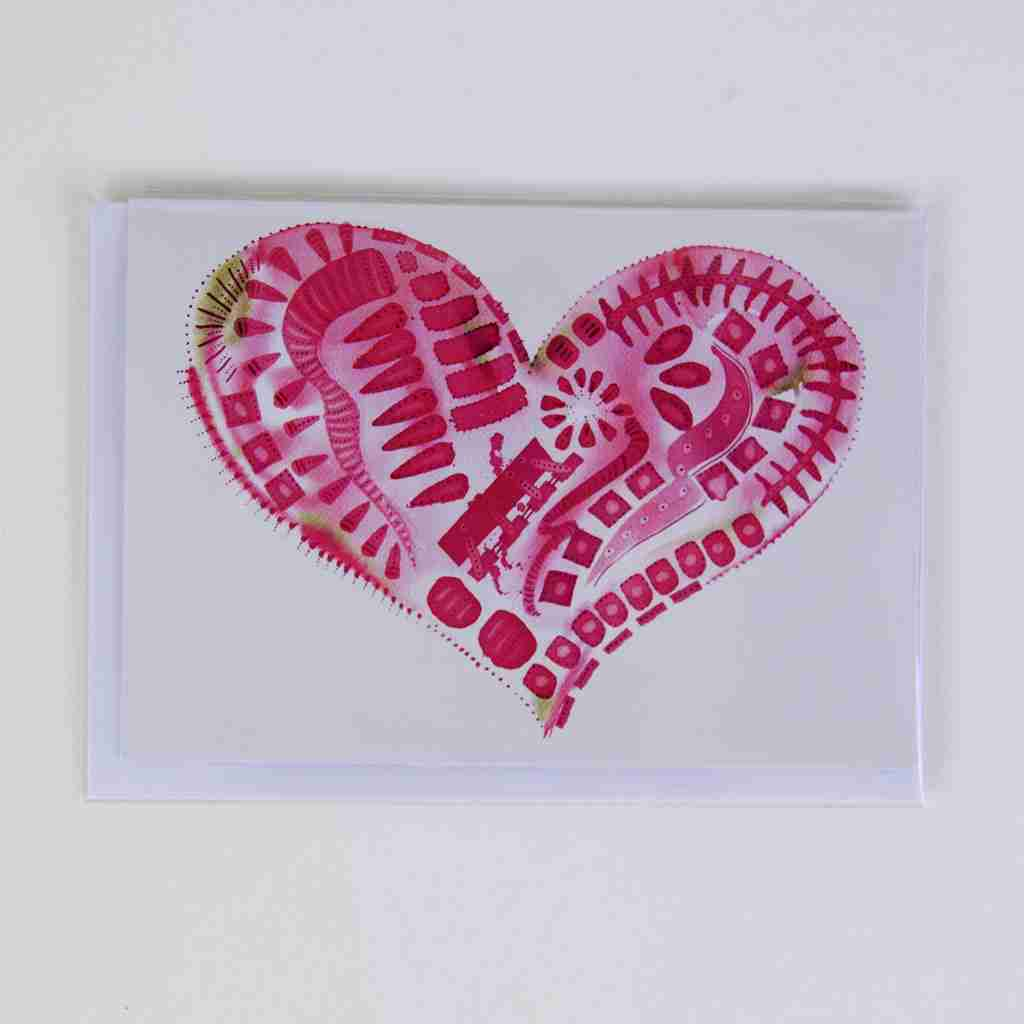 pink watercolour love heart greeting card