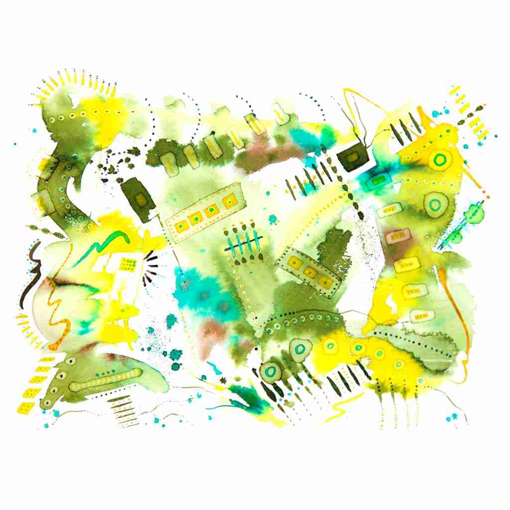 Khaki green abstract watercolour painting by Emma Plunkett art