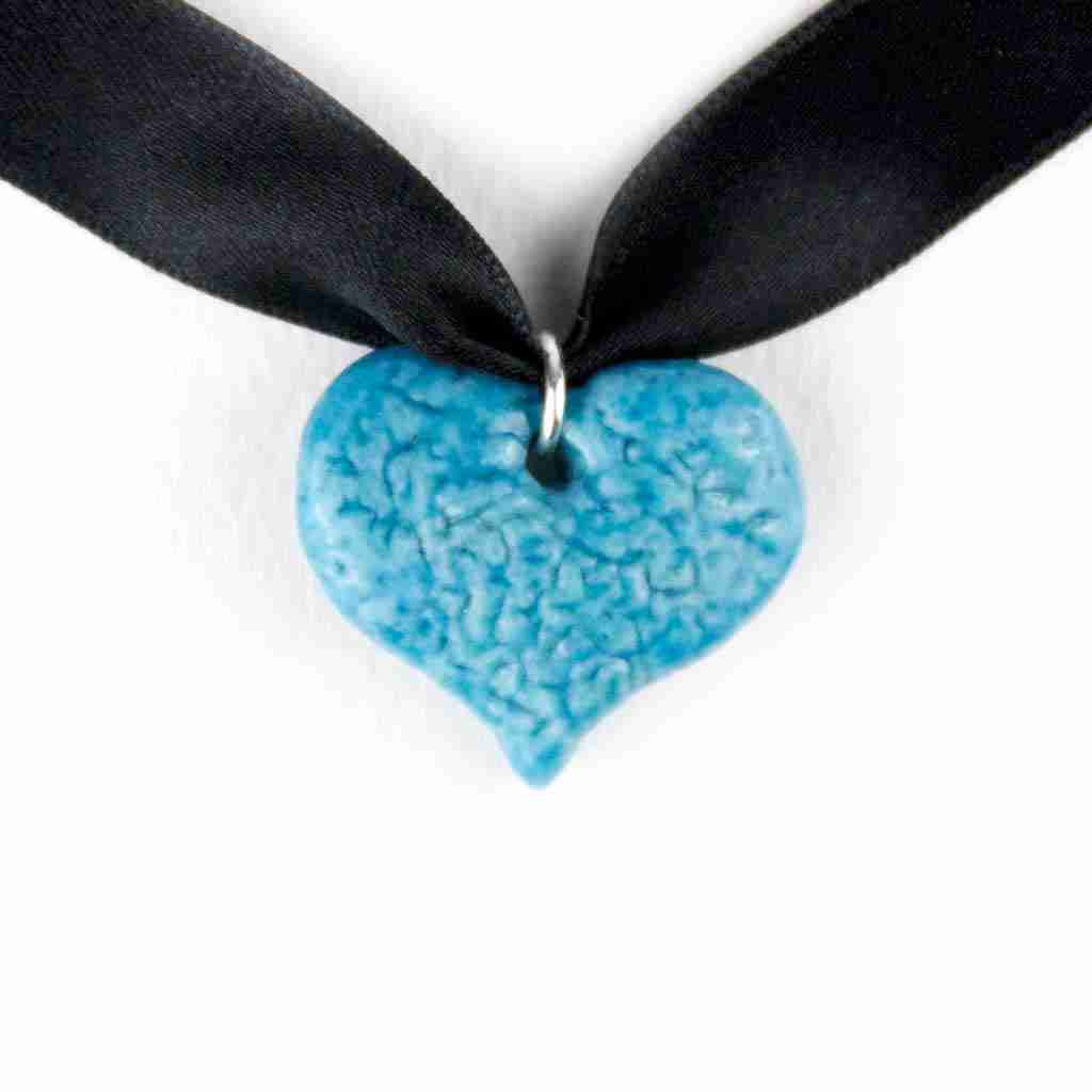 Heart shaped faience pendant
