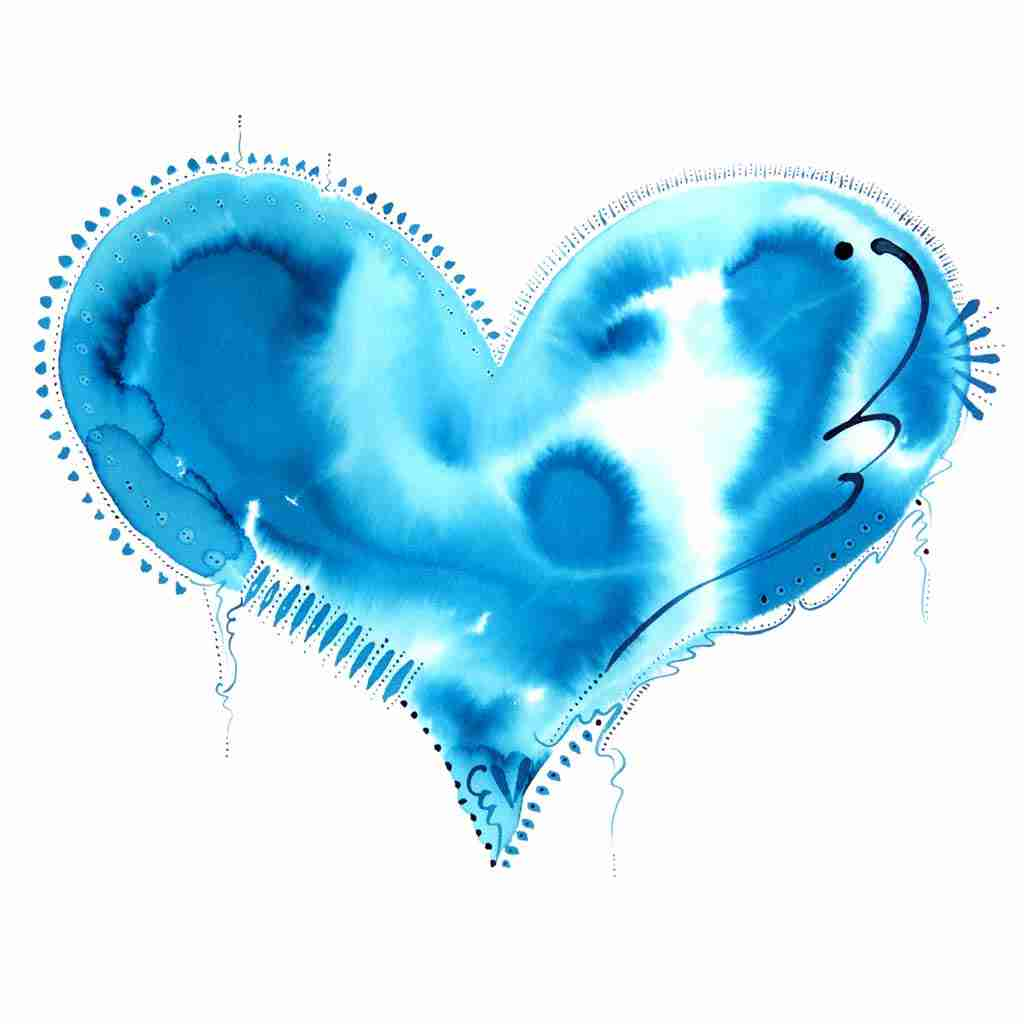 beautiful experimental love heart watercolour in turquoise