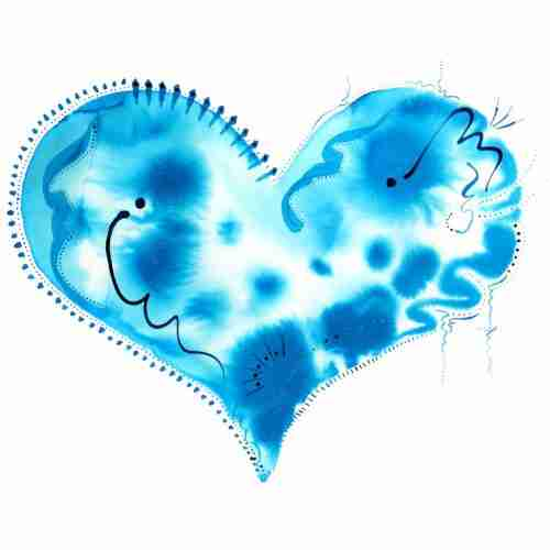 Turquoise watercolour love heart painting, experimental and beautiful