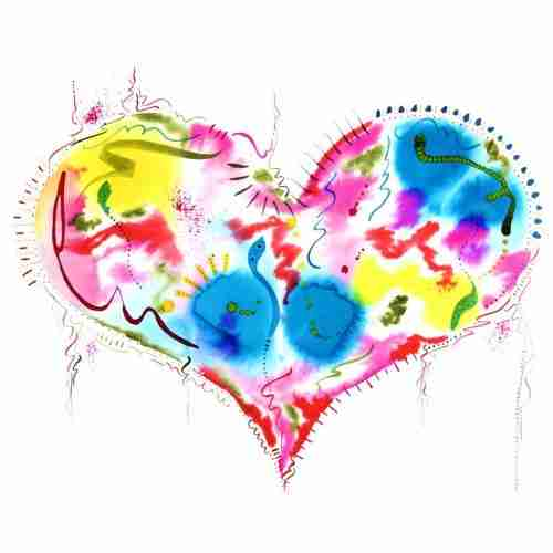 colourful love heart watercolour painting art
