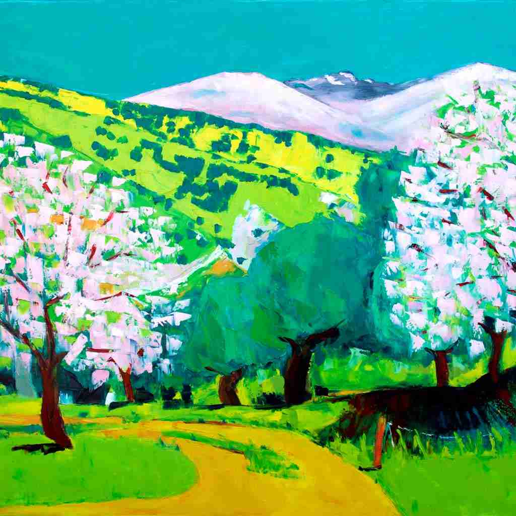 oil painting by Emma Plunkett, Andalusian landscape with pink mountains