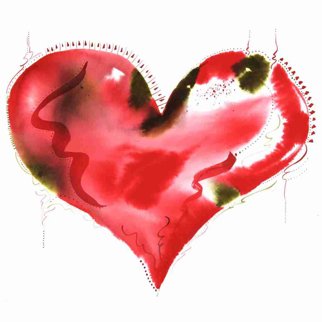 red watercolour abstract beautiful heart