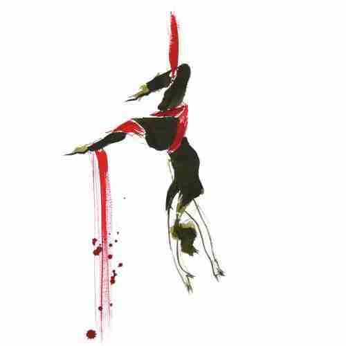 ink sketch of aerial silks performer