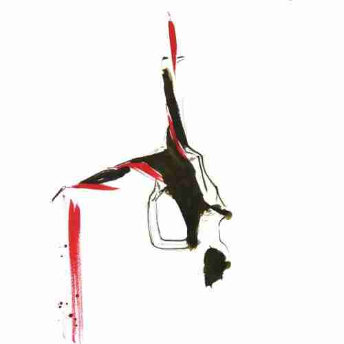 Aerial silks performer painted in watercolour inks
