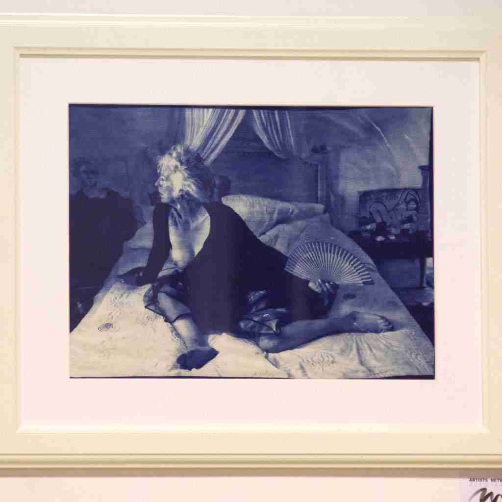 Boudoir, cyanotype print of an older lady