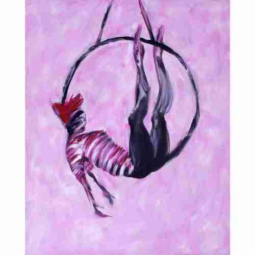 Aerial hoop performer painted in pink