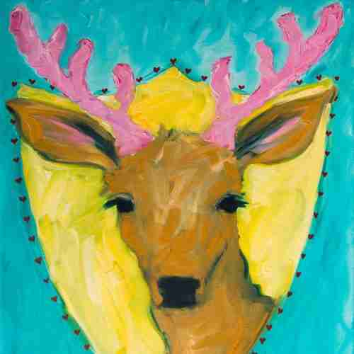 fabulous Dear, pink antlers, oil painting