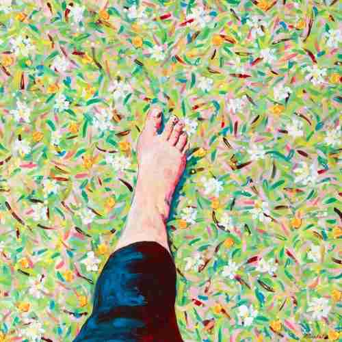A Walk in the Grass barefoot, painting by Emma Plunkett