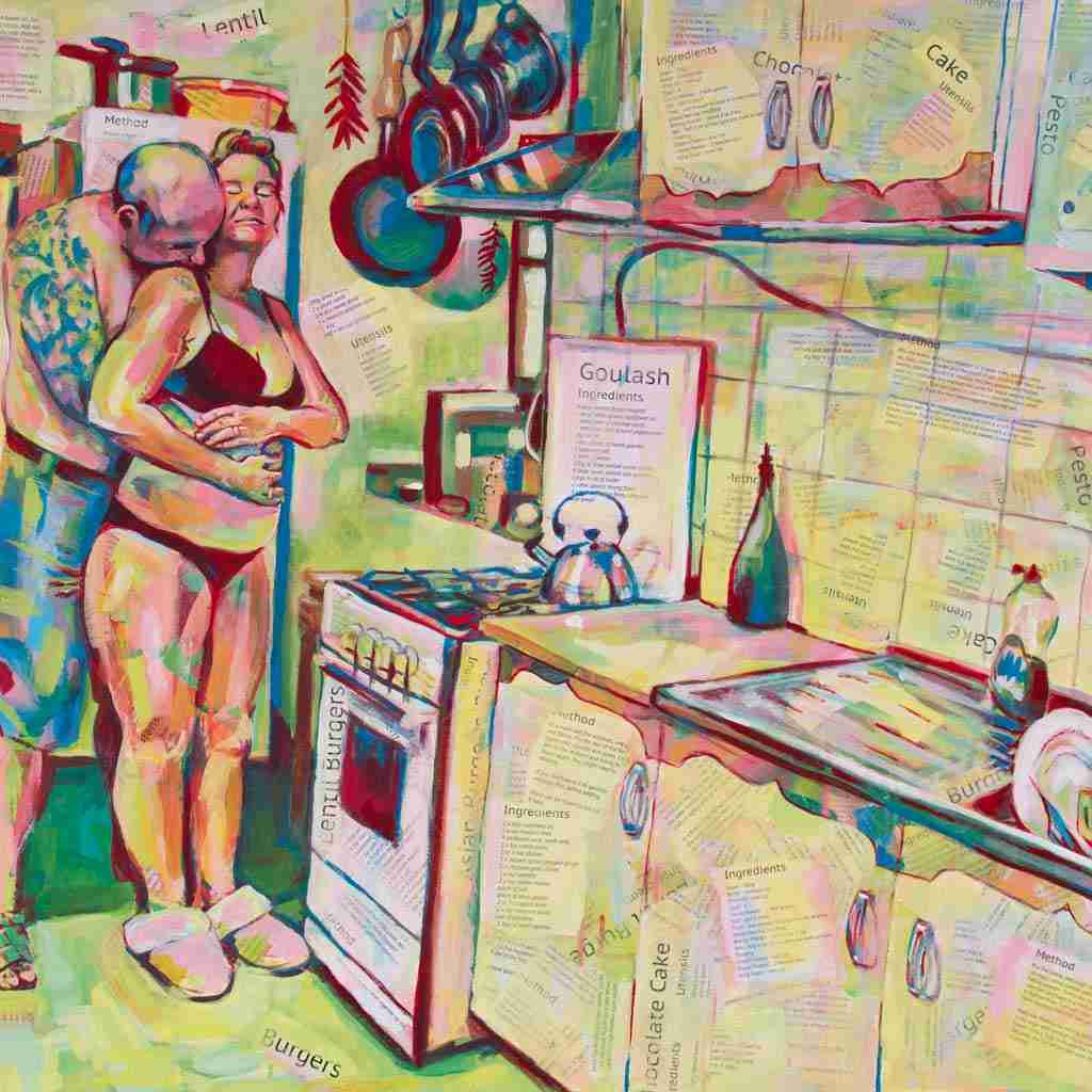 A painting of a kitchen scene, with lovers.