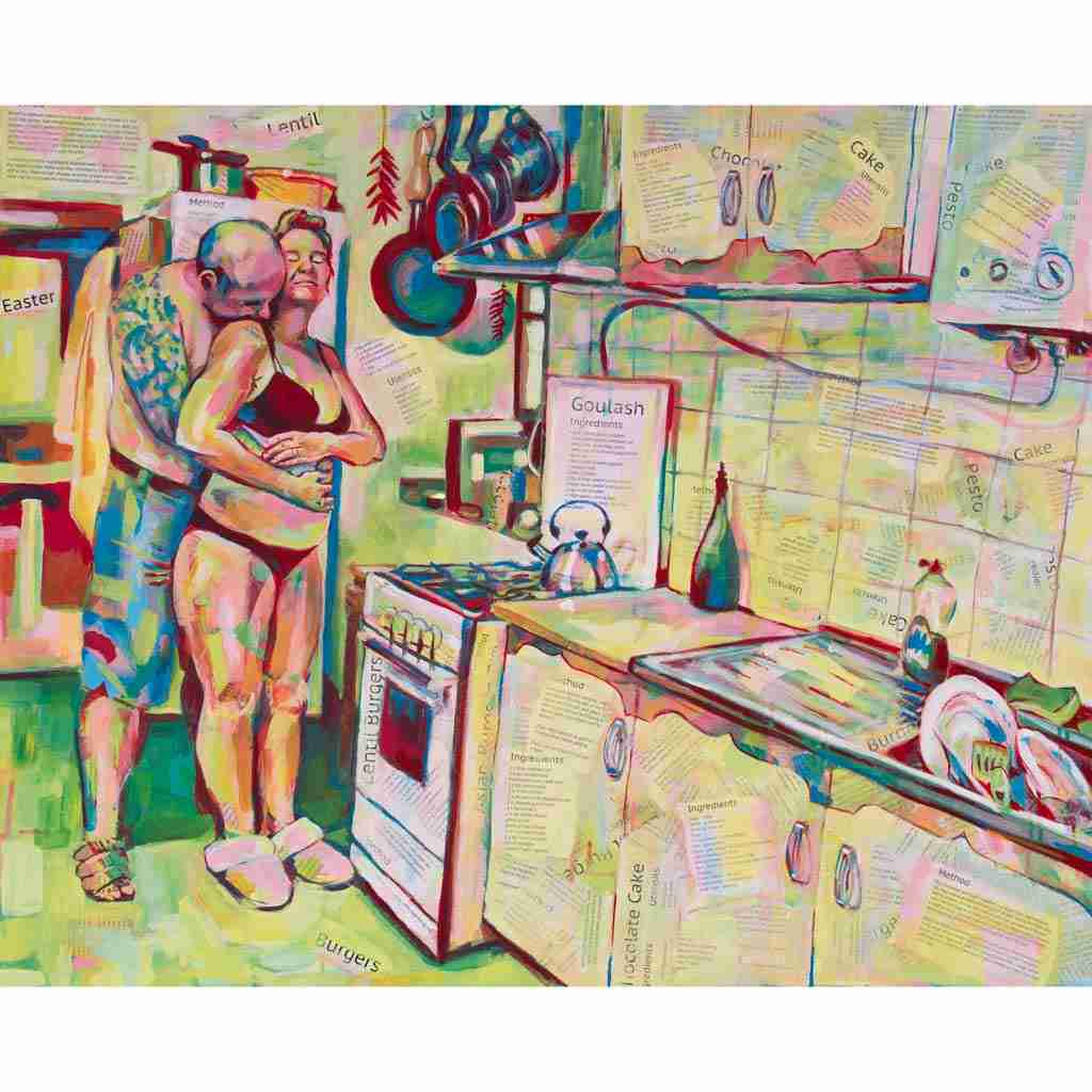 Colourful collaged kitchen painting with lovers