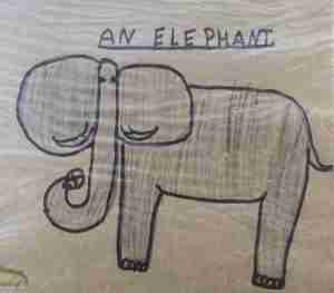 1970's drawing of an elephant