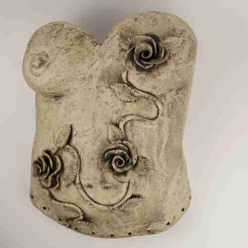 Female torso, stoneware, wall hanging planter with roses