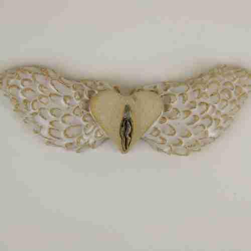 Flying Vulva stoneware sculpture