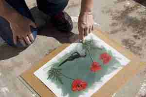 printing cyanotypes in the Andalusian sunshine