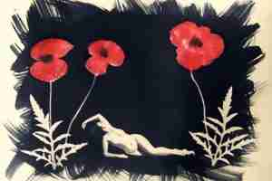 coffee toned cyanotype print with poppies and nude