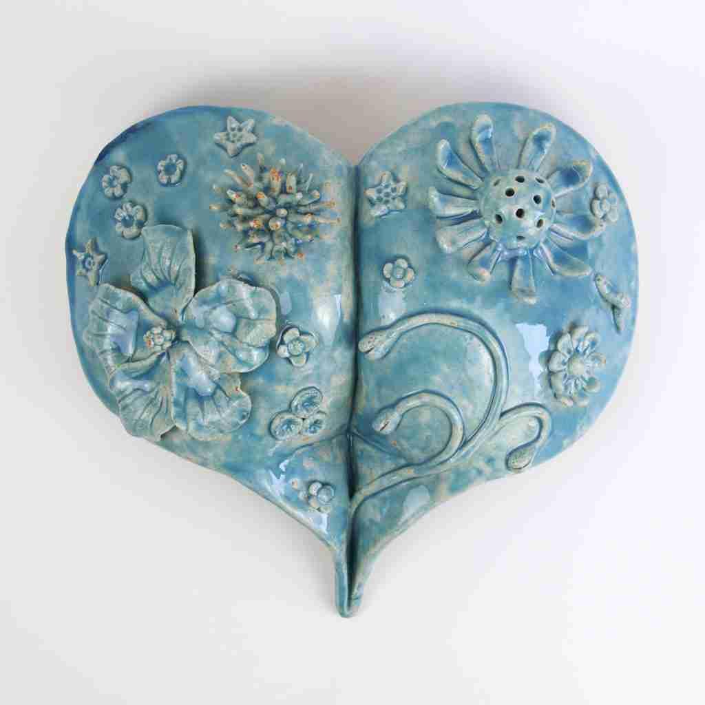 Turquoise glazed Flower Garden Bottom Heart by Emma Plunkett stoneware art