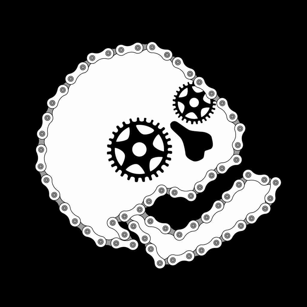 bicycle skull vector art, cogs, chain, seat.
