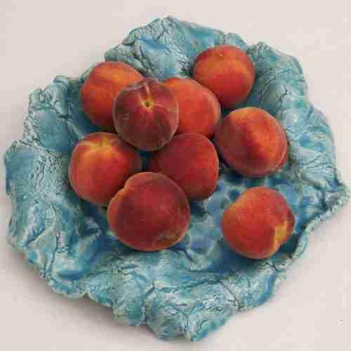 Turquoise Stoneware Fruit Bowl