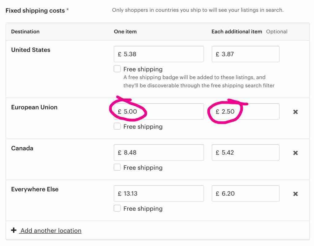 printful-EU shipping prices