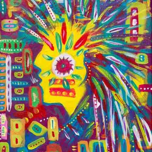 mohawk, acrylic art painting