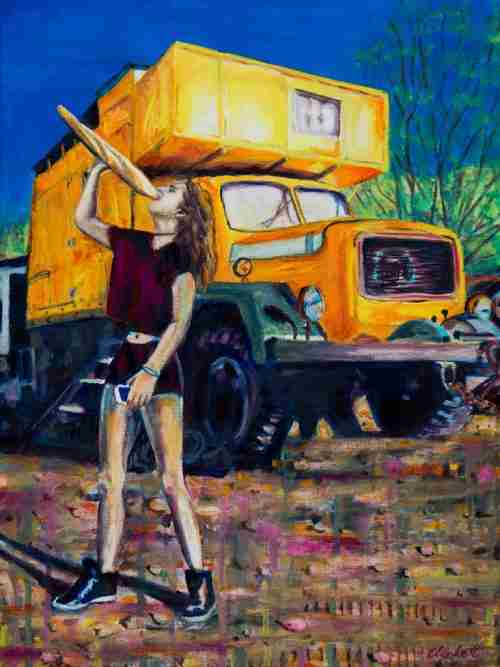 yellow truck painting by Emma Plunkett art