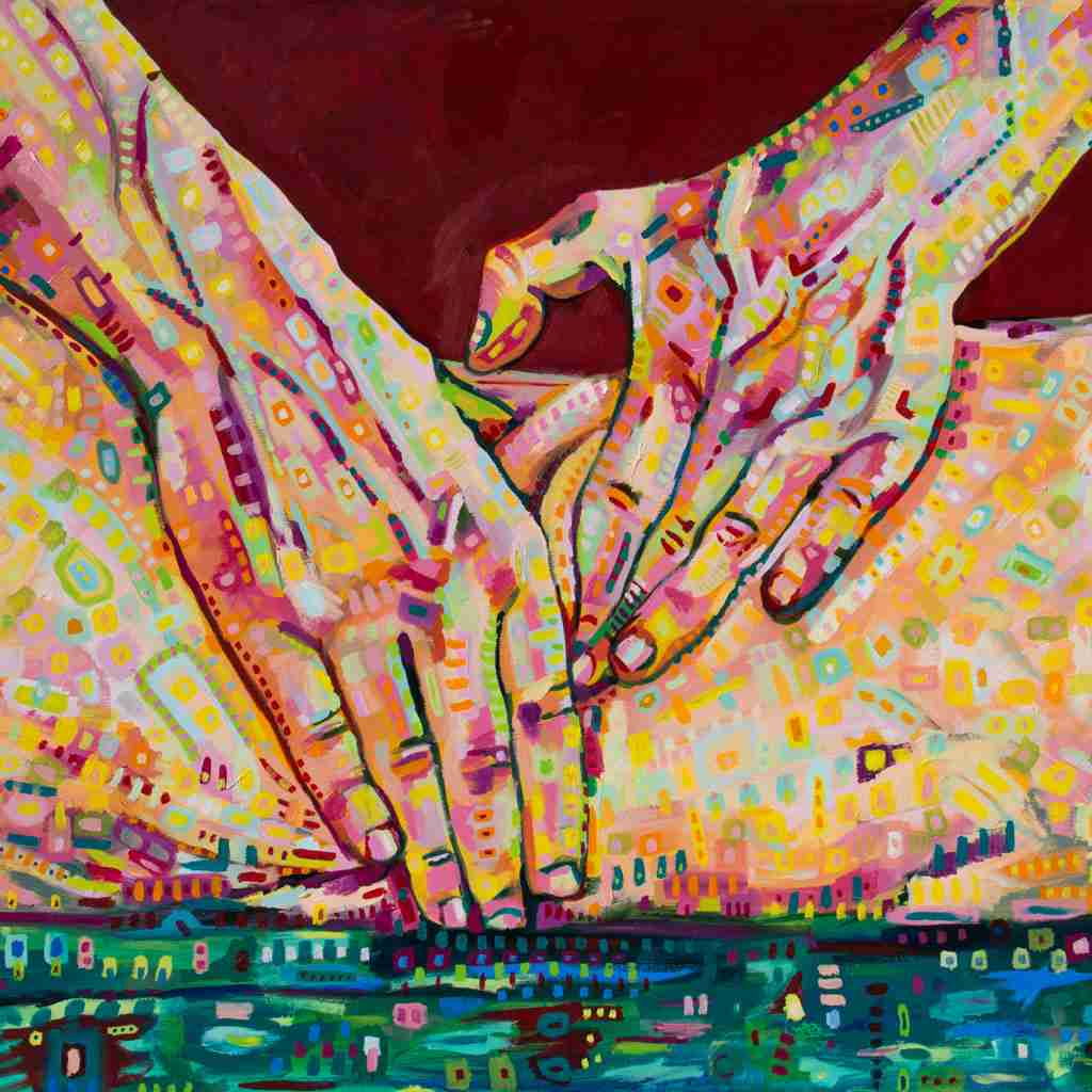 A very colourful oil painting of hands doing an erotic massage