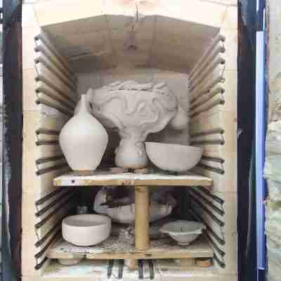 octopus bowl in the kiln