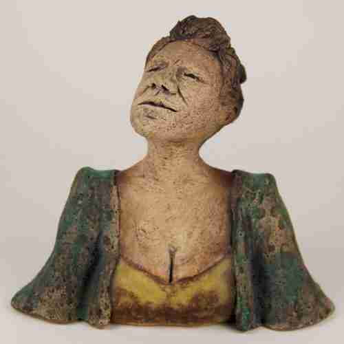 stoneware self portrait in clay