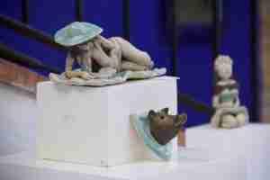 Emma Plunket art display at the kitty Harri sculpture garden art day.