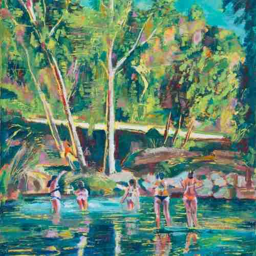 Eternal play, oil painting of kids playing in the river