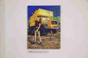 Yellow truck oil painting