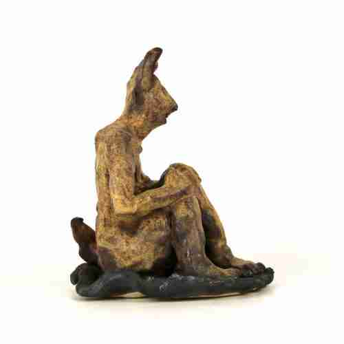 Old rabbit lady sculpture in clay