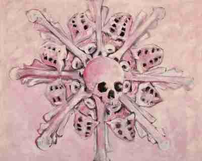 Pink skulls oil paintings