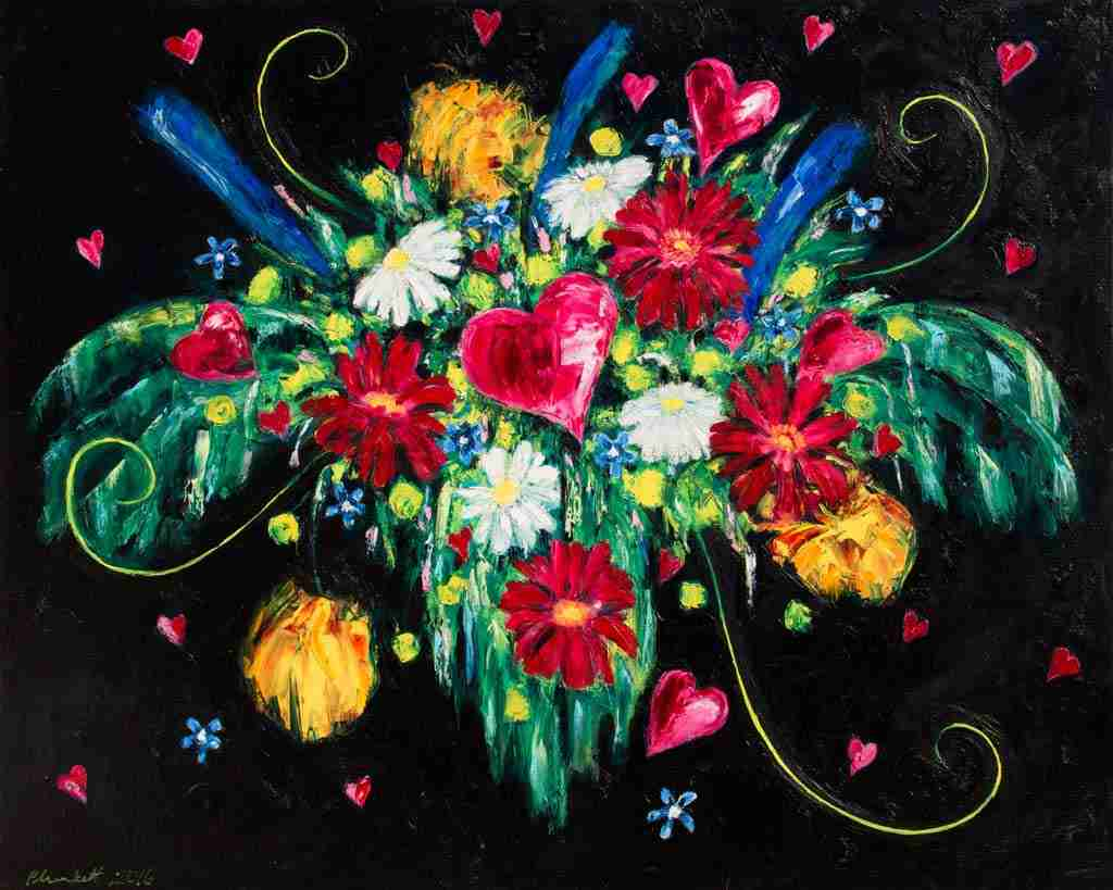 hearts and flowers in a bouquet on a black background