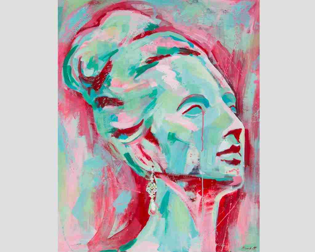 beautiful woman's head painting in pink and turquoise
