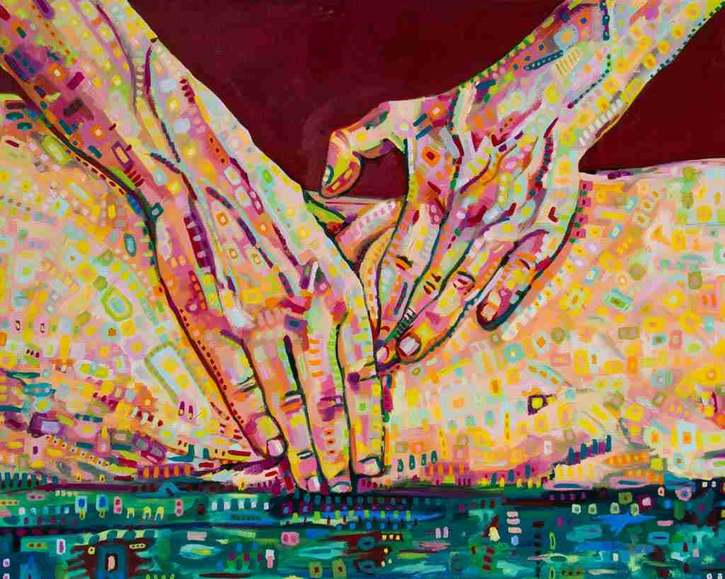 oil painting, semi erotic, hands