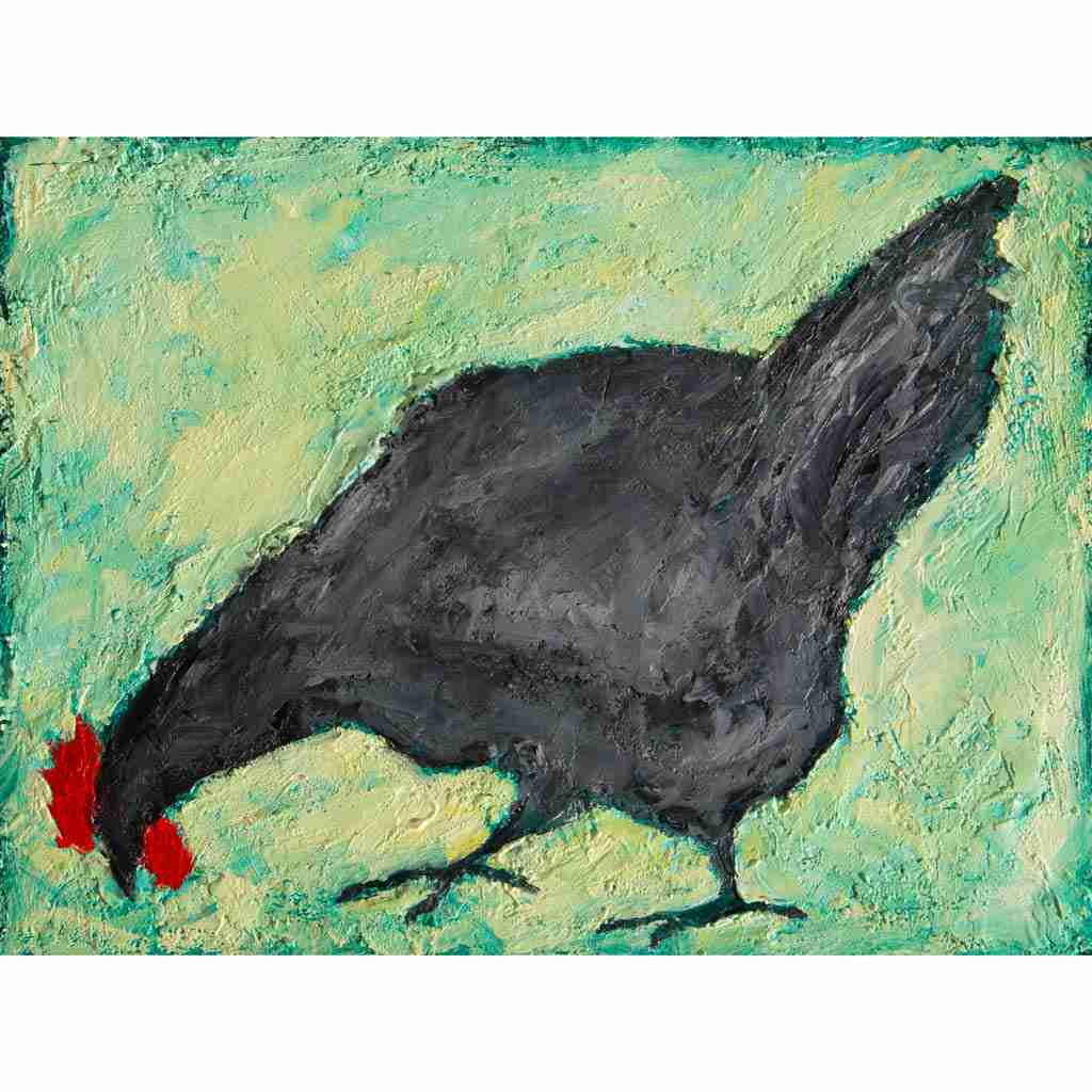 Andalusian Blue Chicken painting by Emma Plunkett art