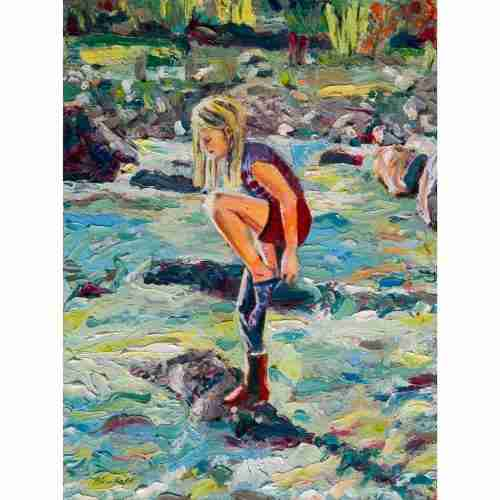 oil painting of a girl in the river