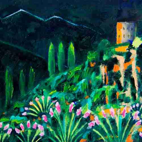 Oil painting of Velez de Benaudalla at night