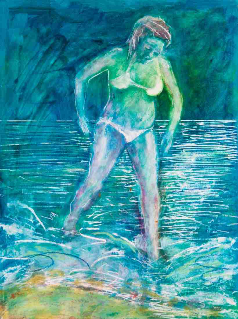 oil painting of a bather by Emma Plunkett