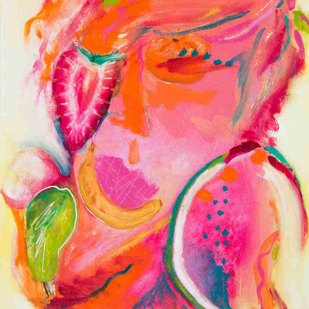 face with fruit oil painting