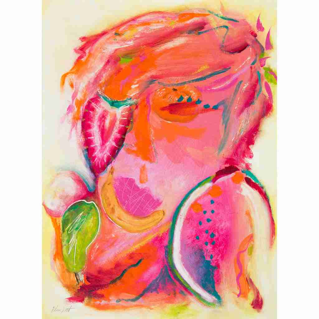 face with fruit