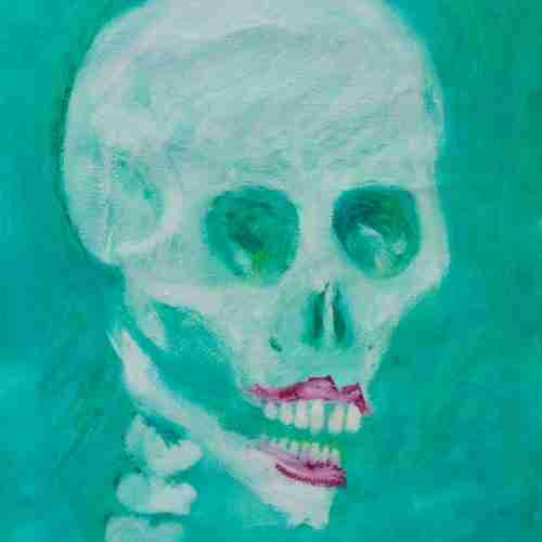 Glamour skull oil painting