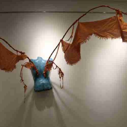 Icarus sculpture made of clay and cloth