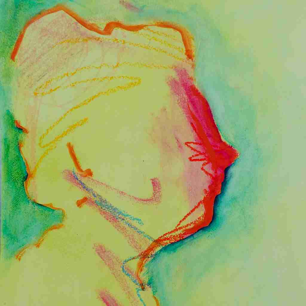 Menopausal Woman large and colourful oil painting
