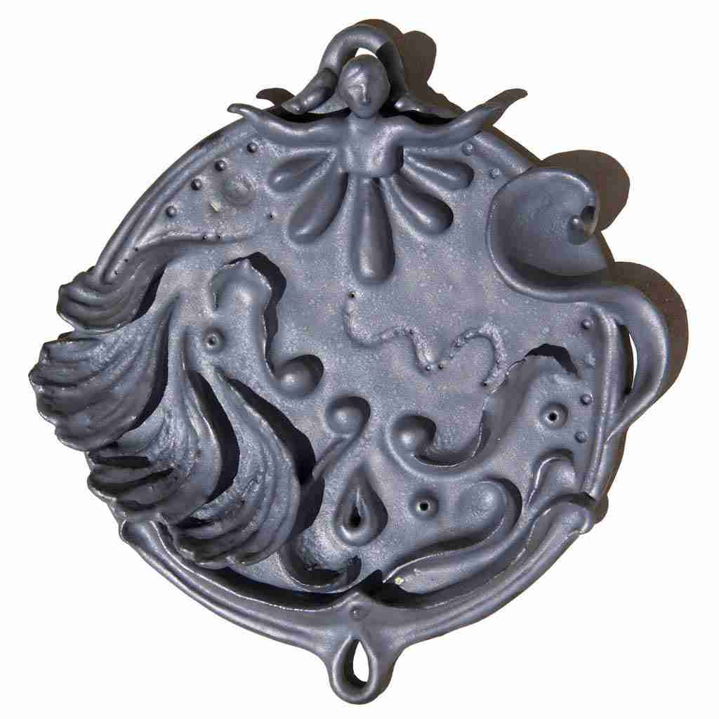 stoneware wall plaque of a fluid shapes and a protective woman