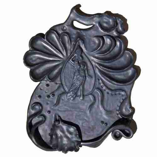 Water bearer, stoneware clay wall plaque