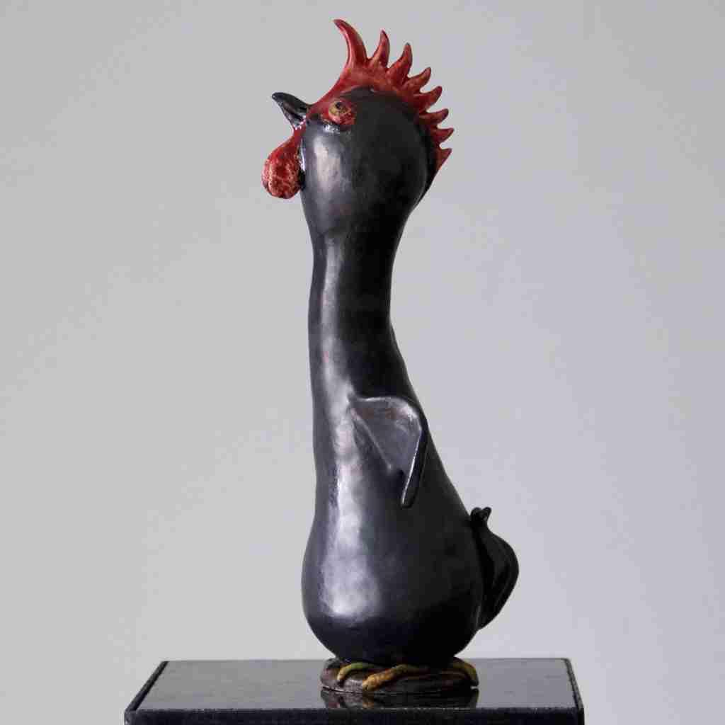 Stoneware clay chicken sculpture